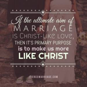 If the ultimate aim of marriage is Christ-like love, then it's primary purpose is to make us more like Christ.